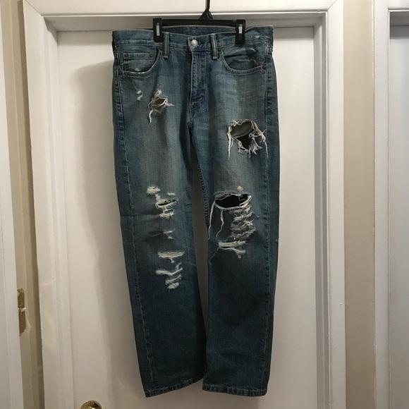Levi's 514 ripped blue jeans men's 32 x 29